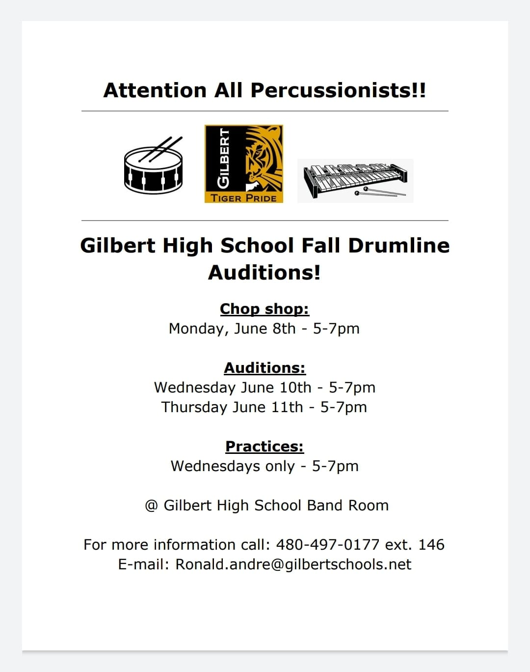 Fall Drumline Auditions